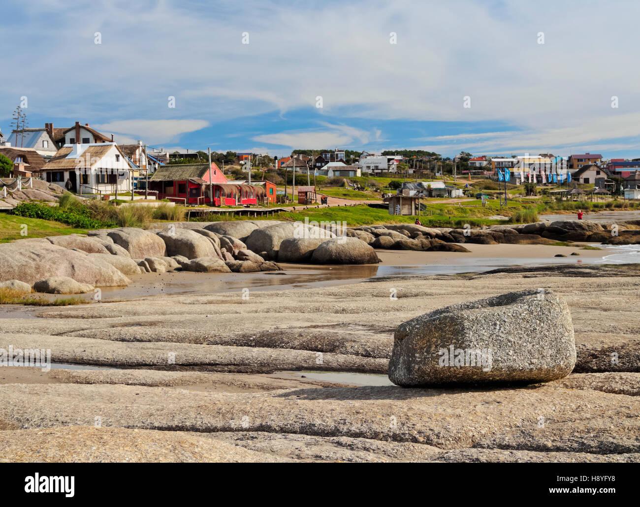 Uruguay, Rocha dipartimento, vista della Punta del Diablo. Immagini Stock