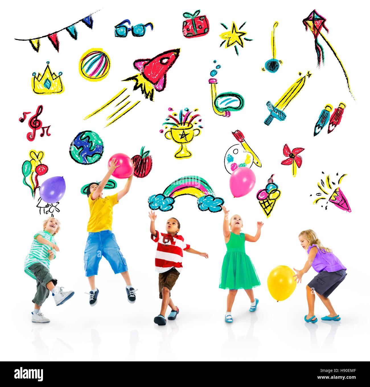 Infanzia bambini le attività per il tempo libero il concetto di istruzione Immagini Stock