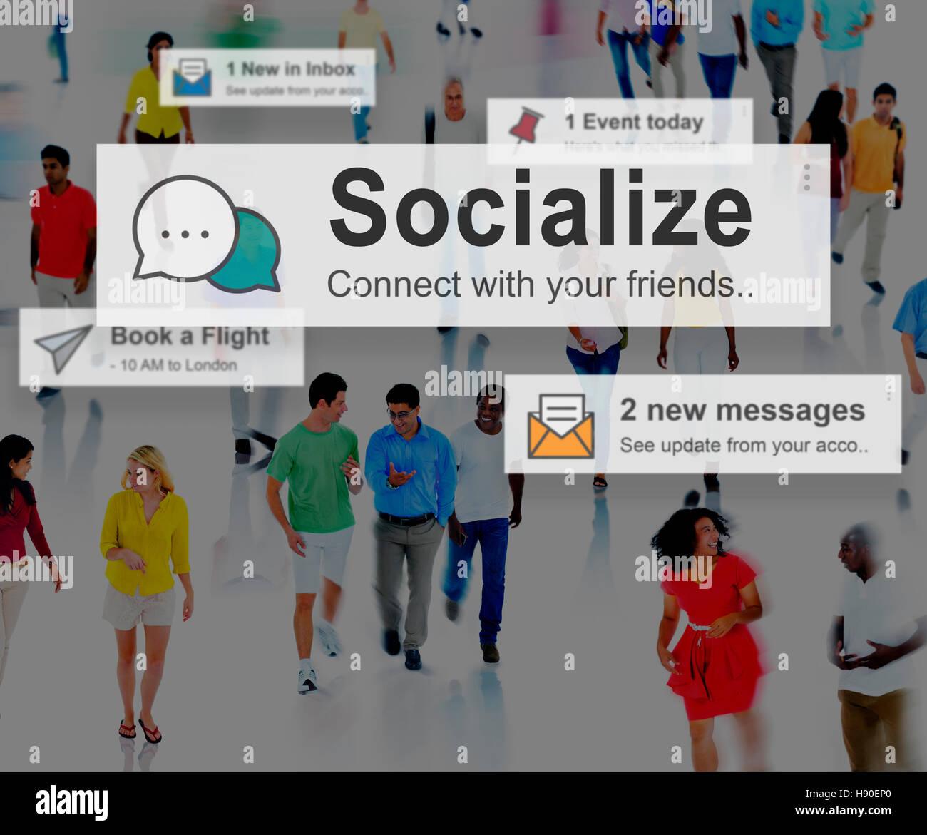Socializzare società comunitaria relazione il concetto di socializzazione Immagini Stock