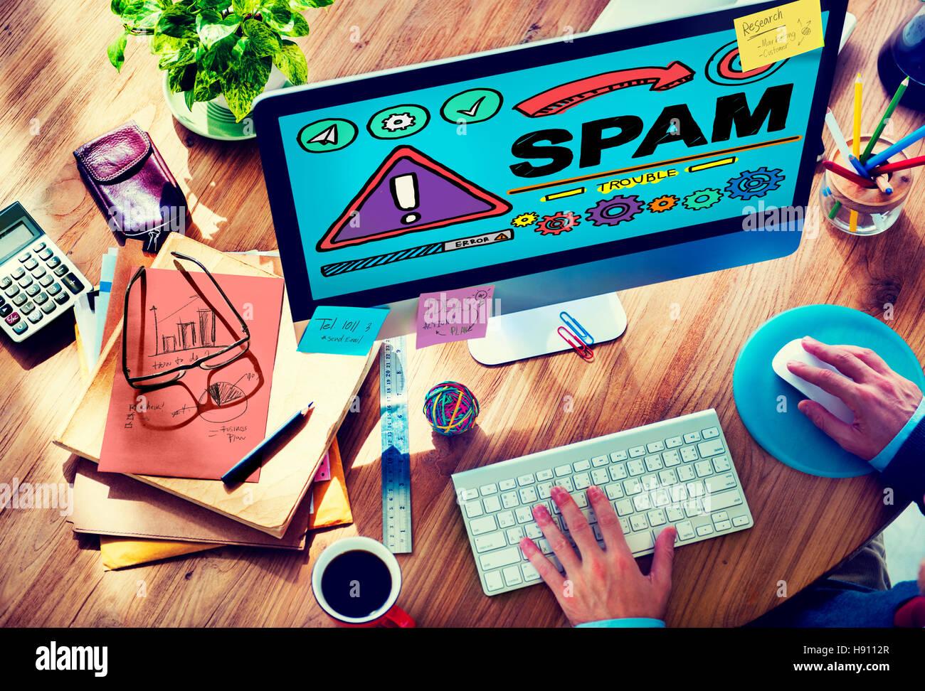 Il problema dello spam Virus Malware Online il concetto di hacking Immagini Stock
