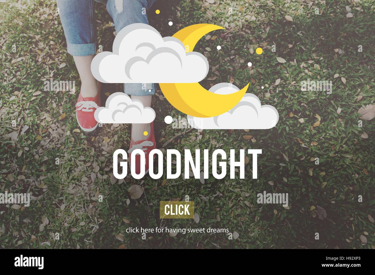 Buonanotte Dolci Sogni Di Felicità Sonno Concetto Di Sfiato Foto