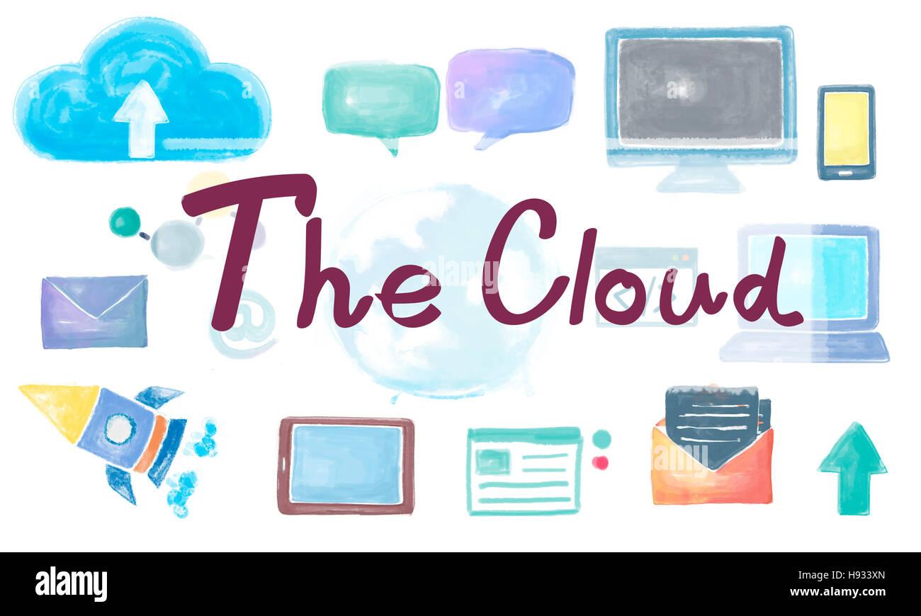 Il Cloud Network Connection globalizzazione il concetto di comunicazione Immagini Stock