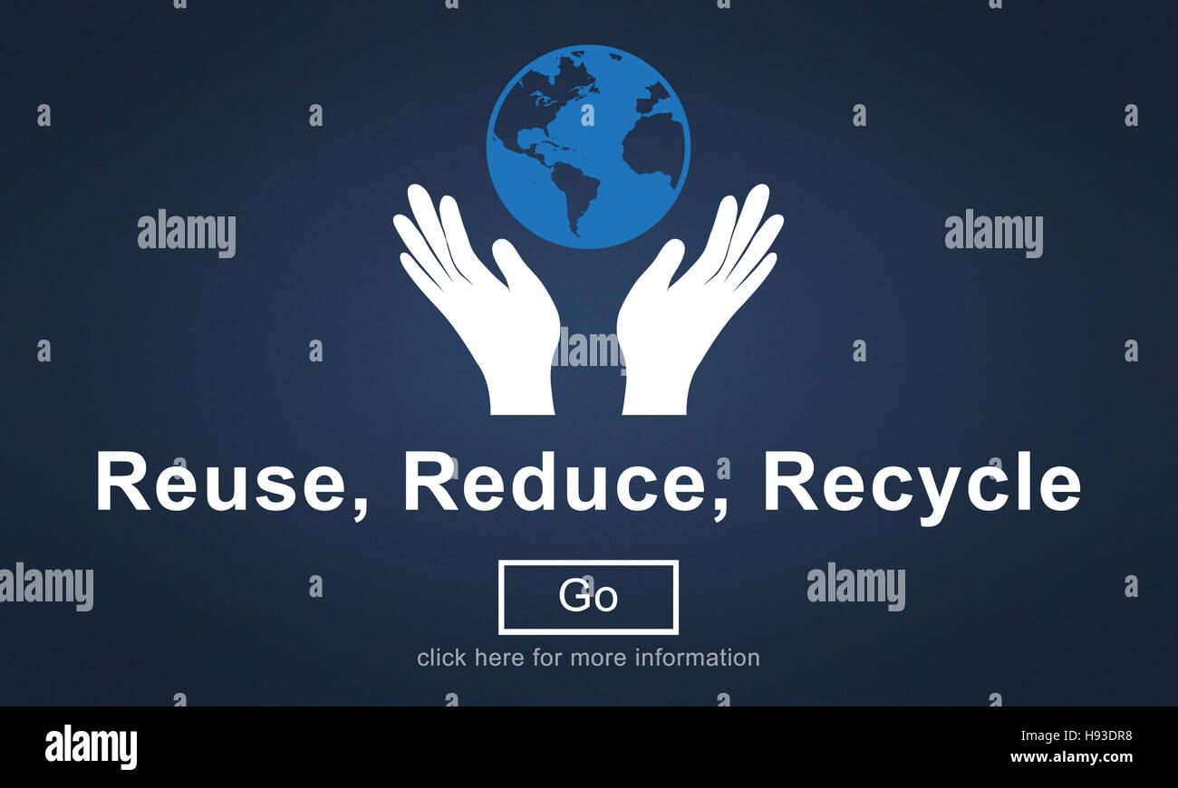 Il riutilizzo di ridurre riciclare sostenibilità il concetto di ecologia Immagini Stock