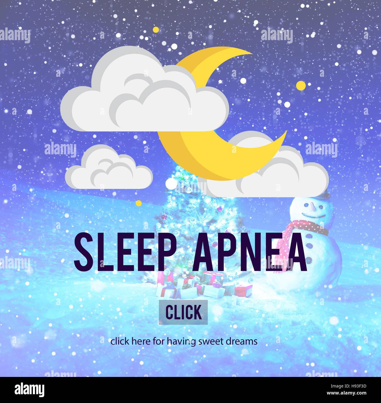 Apnea nel sonno Snorer Insonnia Concetto di respirazione Immagini Stock