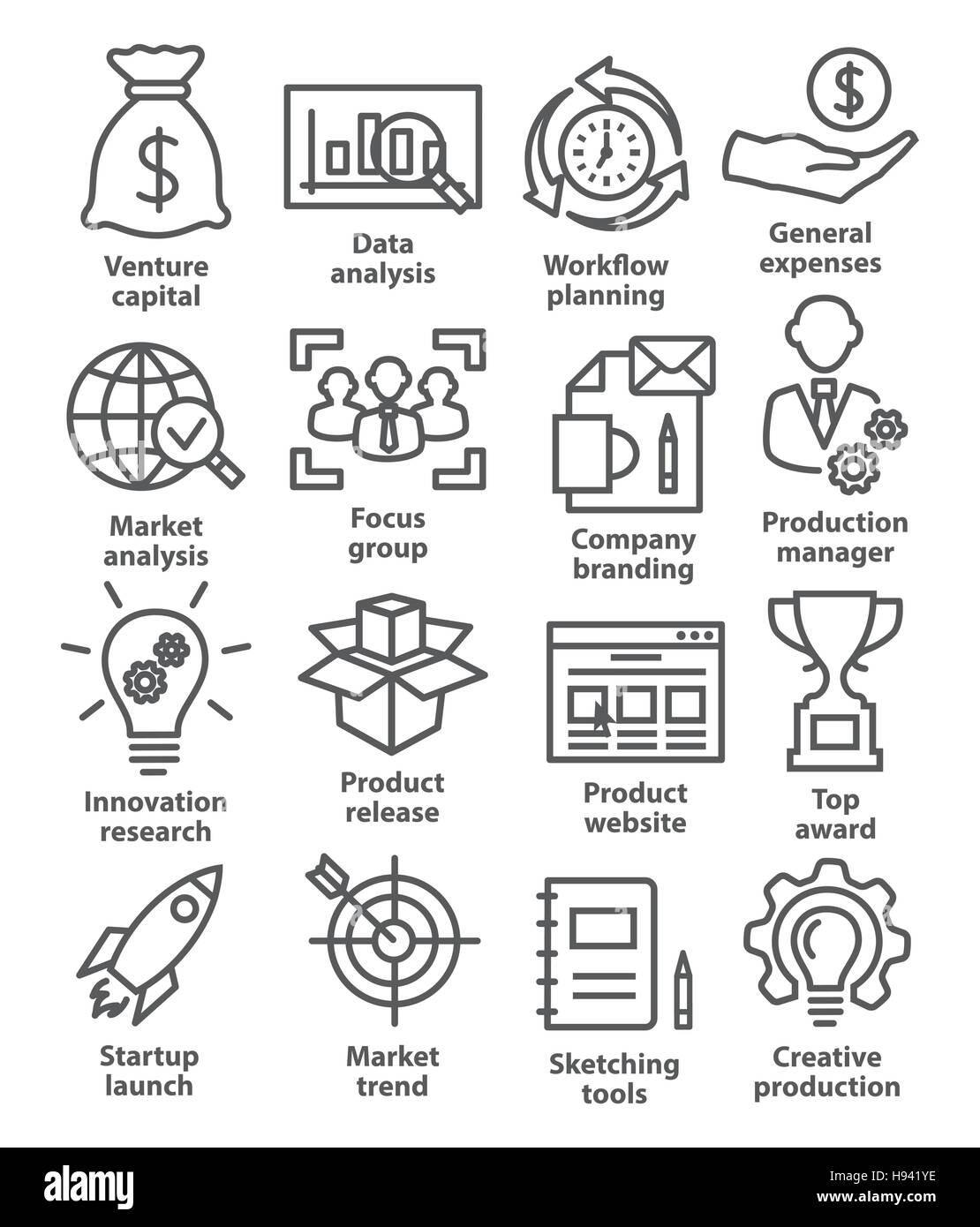 Startup business e sviluppo icone di stile di linea su bianco Immagini Stock