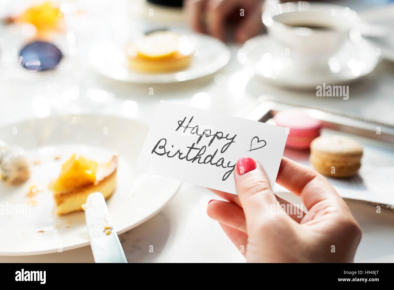 HBD felice Festa di compleanno di saluti il concetto di partito Immagini Stock