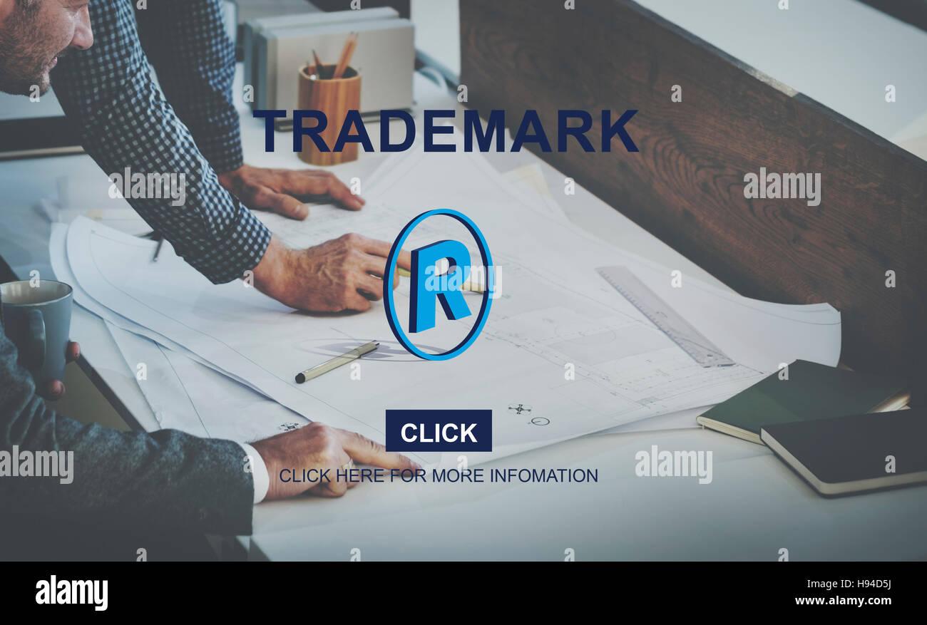 Logo del marchio di Marca il concetto di Copyright Immagini Stock