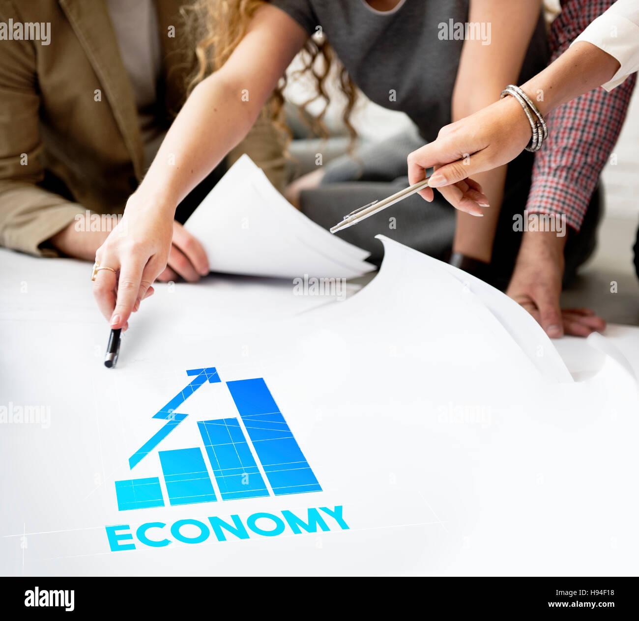 Economia crescita aziendale grafico concetto grafico Immagini Stock