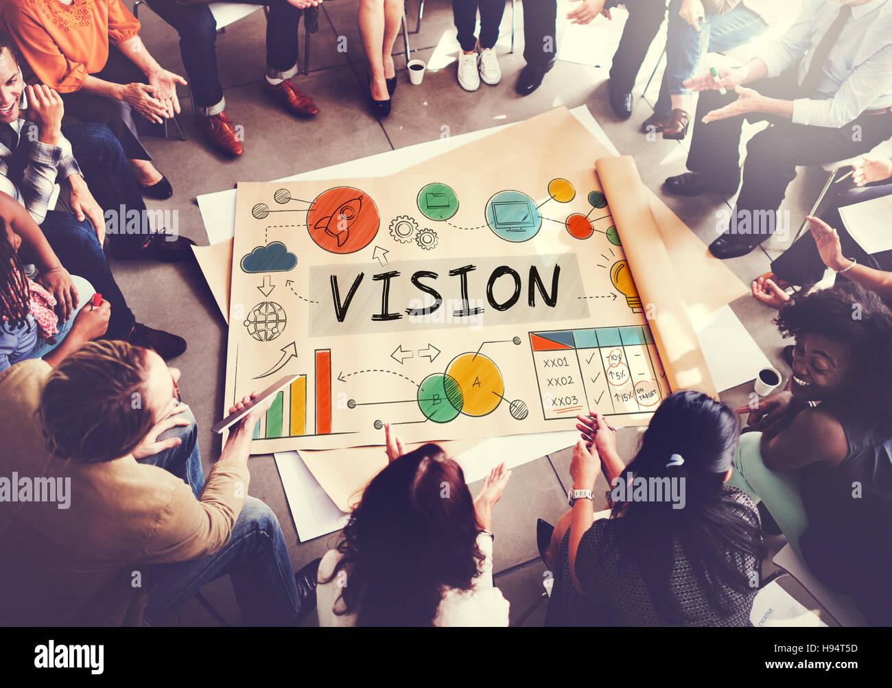 Vision La crescita del business aziendale il concetto di destinazione Immagini Stock