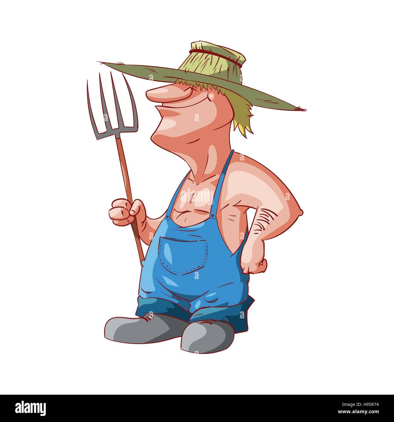 Colorata illustrazione vettoriale di un cartoon agricoltore o redneck  Immagini Stock 3bb80a3ea2be