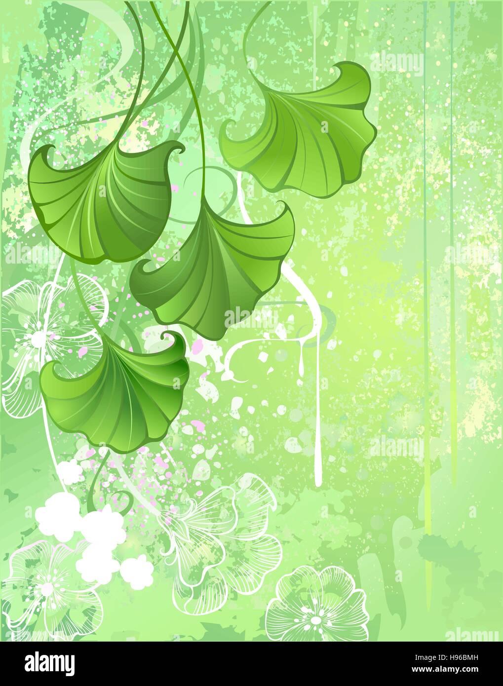 In Tessuto Morbido Verde Primavera Sfondo Verde Con Foglie E Fiori