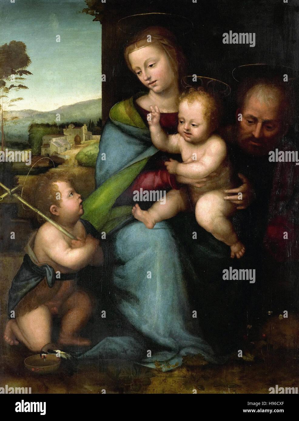 Fra Bartolommeo - La Santa Famiglia con il Bambino di San Giovanni Battista Immagini Stock