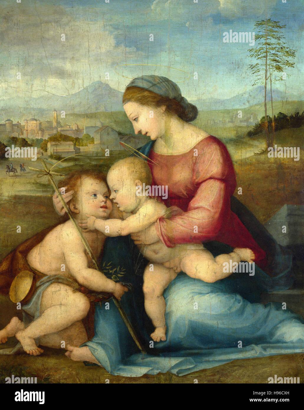 Fra Bartolommeo - Madonna con Bambino e San Giovanni - 1516 Immagini Stock