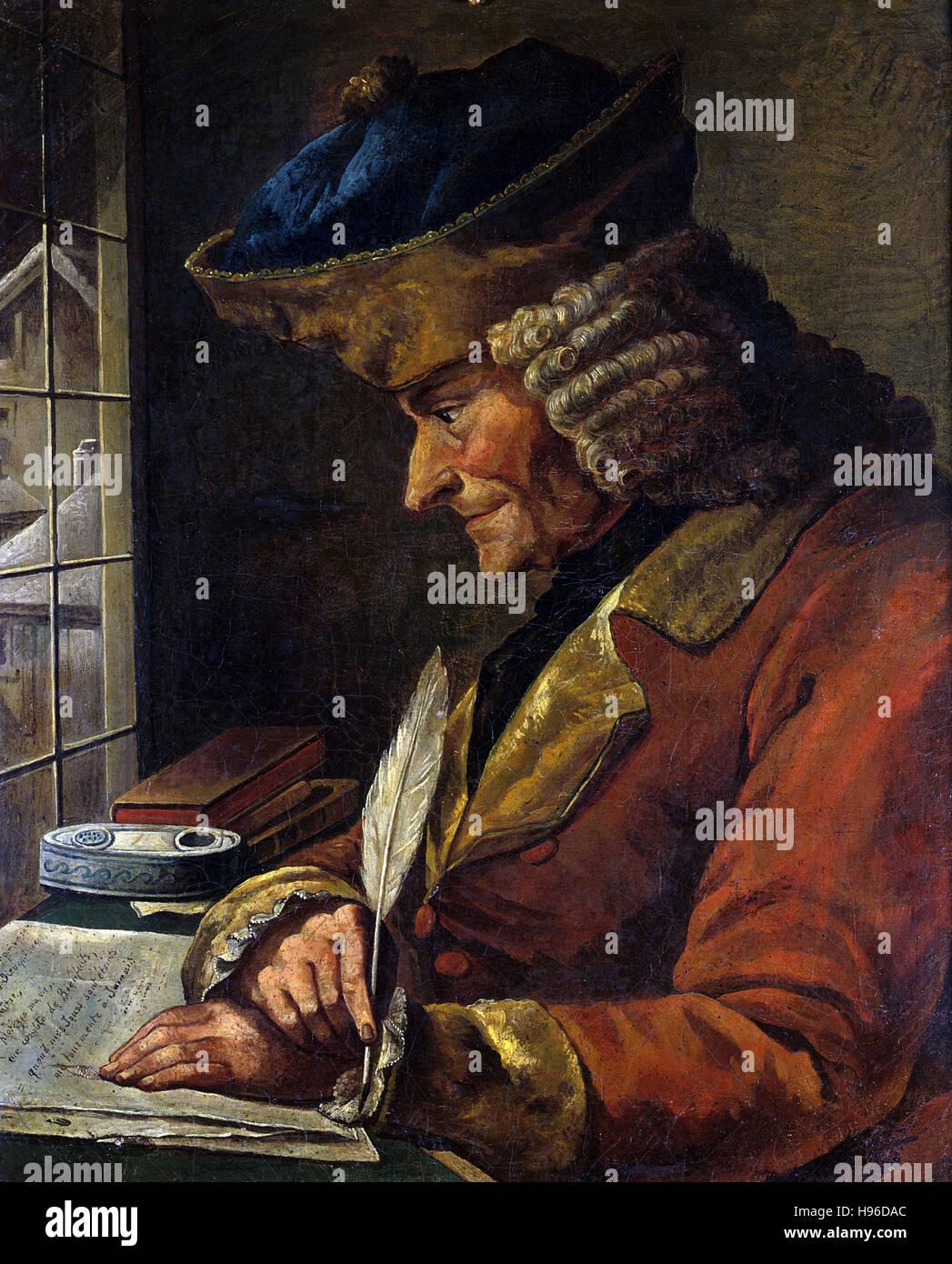 Anonimo, Ritratto del XVIII secolo di Voltaire (1694-1778) nel suo studio Immagini Stock