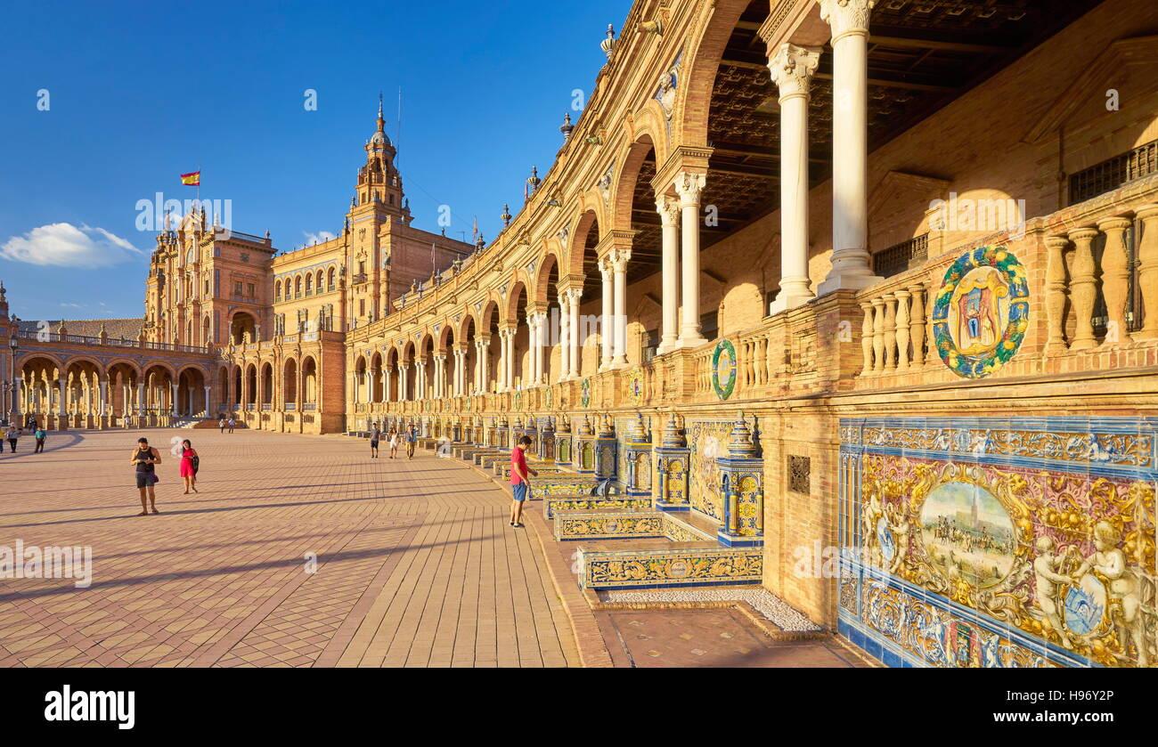 Siviglia - Plaza de Espana, Andalusia, Spagna Immagini Stock
