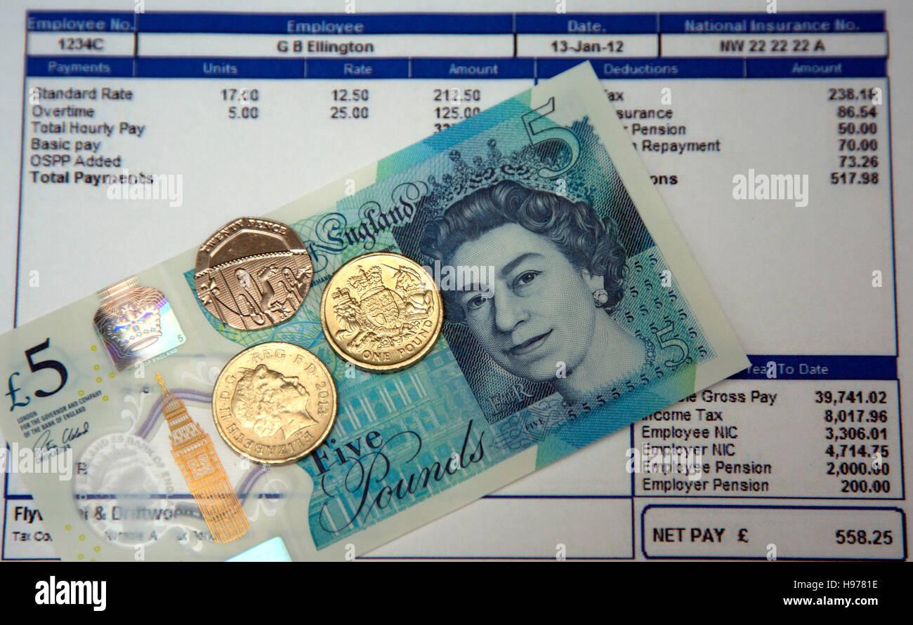 Salario nazionale minimo è di £7.20 ad un'ora da ottobre 2016, Londra Immagini Stock