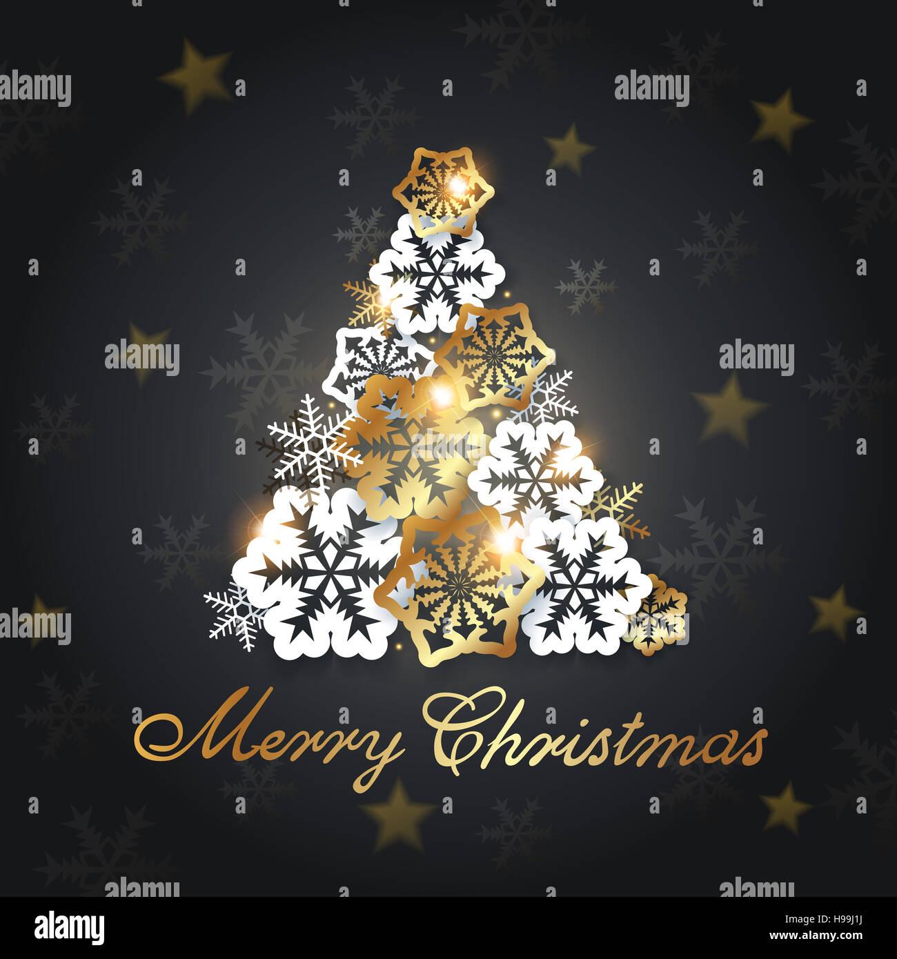 Albero Di Natale Nero E Oro.Nero Lo Sfondo Di Natale Con Oro E Bianco Di Fiocchi Di Neve
