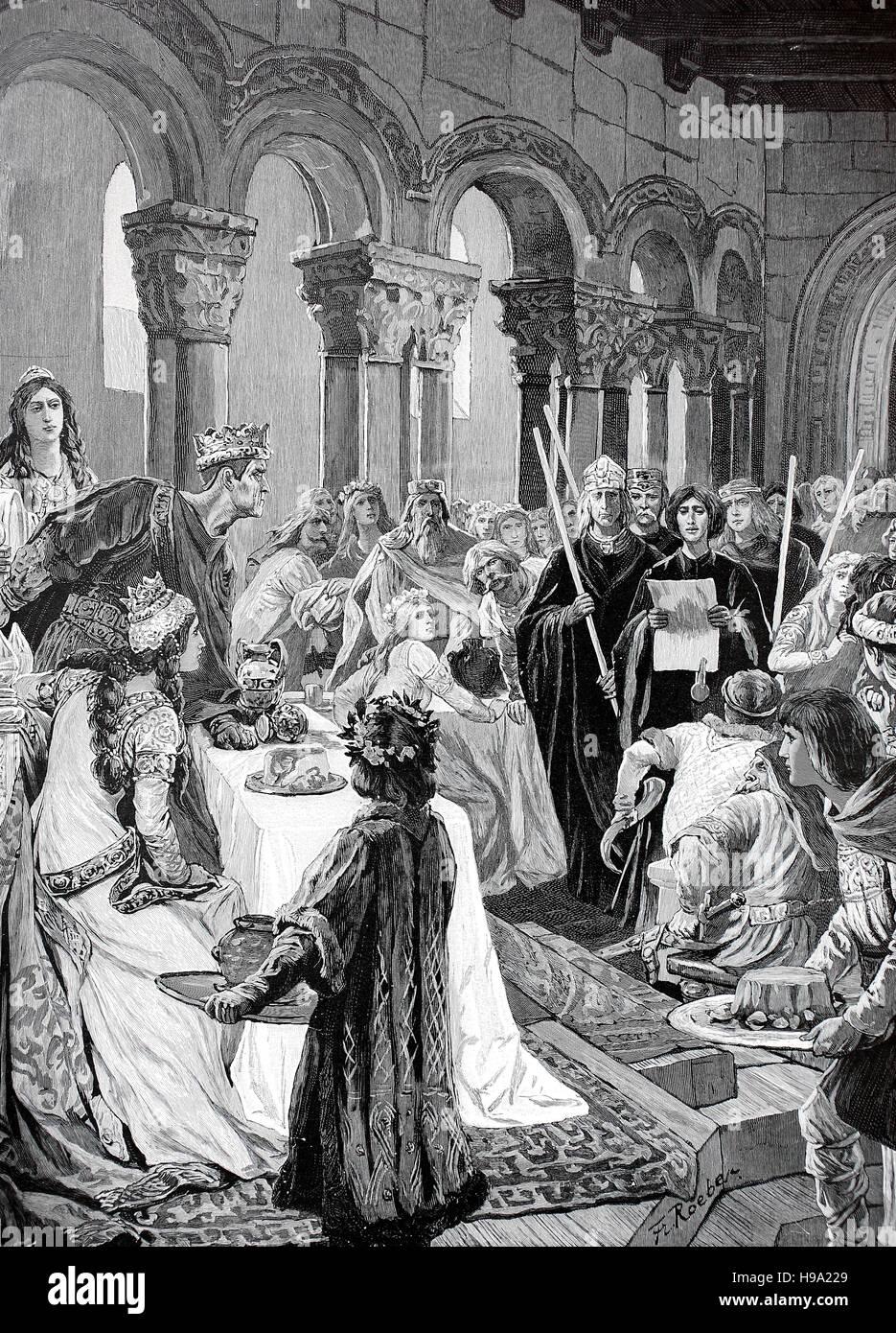 Nozze di Carlo il Calvo, 13 giugno 823 - 6 ottobre 877, egli era il re della parte ovest della Francia 843-77, re Immagini Stock
