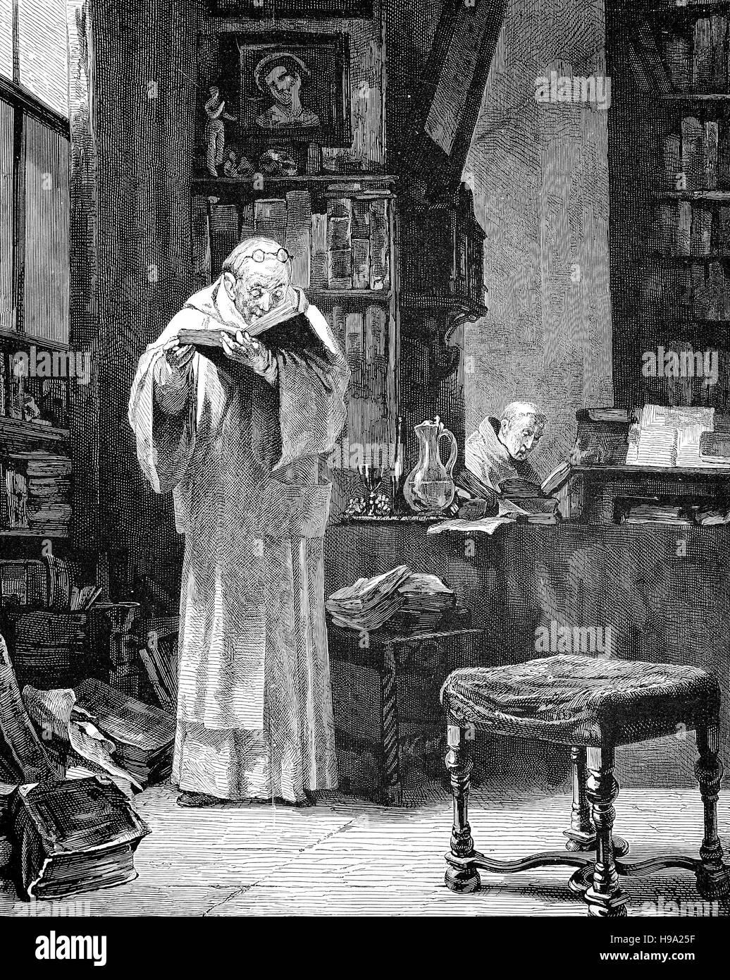 Gli studi scolastici all'inizio della Riforma Protestante, Medioevo, 1500, storico illustrazione Immagini Stock