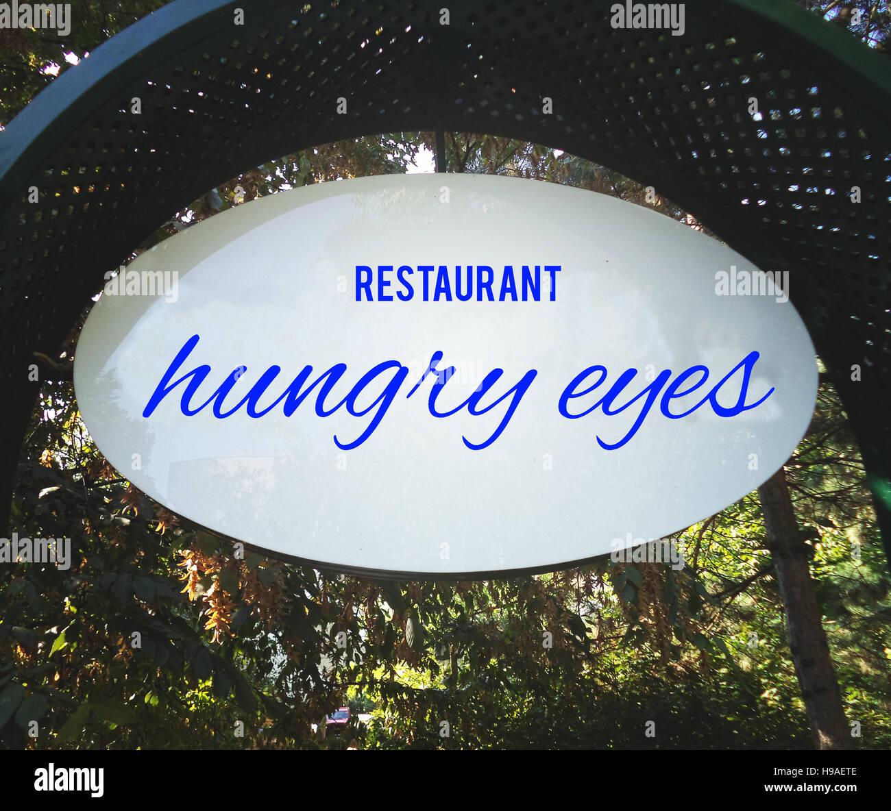 Ristorante, hangry occhi sfondi, textures, motivazione, poster, citazioni, immagine sfocata Immagini Stock