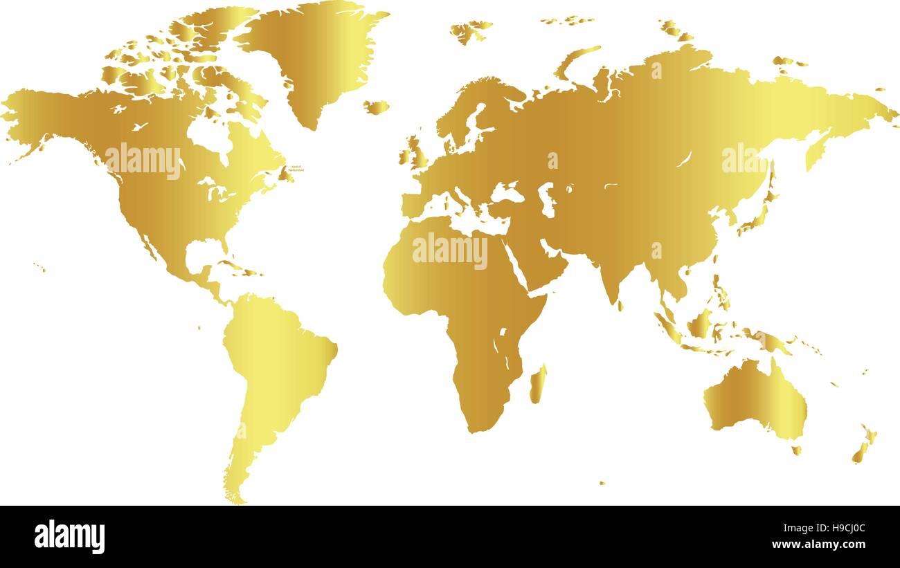 Il colore è dorato mondo mappa su sfondo bianco. Design globo sullo sfondo. Elemento di cartografia Carta da Immagini Stock