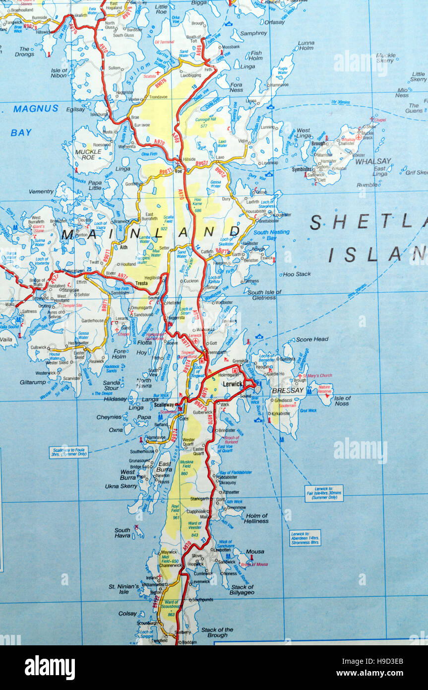 Cartina Scozia Dettagliata.Mappa Stradale Delle Isole Shetland Scozia Foto Stock Alamy