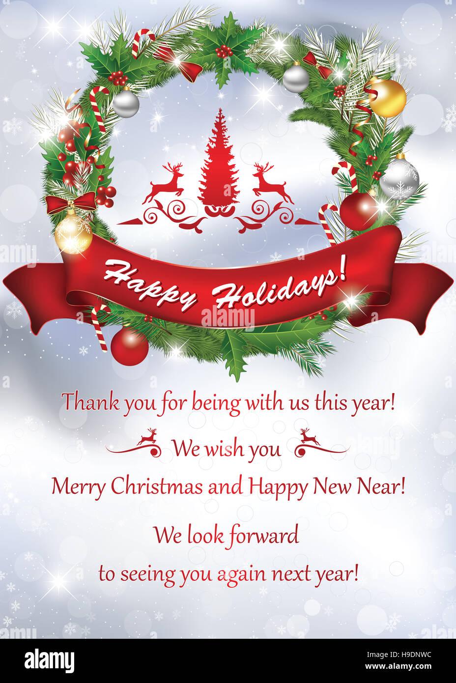 Grazie E Buon Natale.Business Card Per La Fine Dell Anno Per La Stampa Grazie