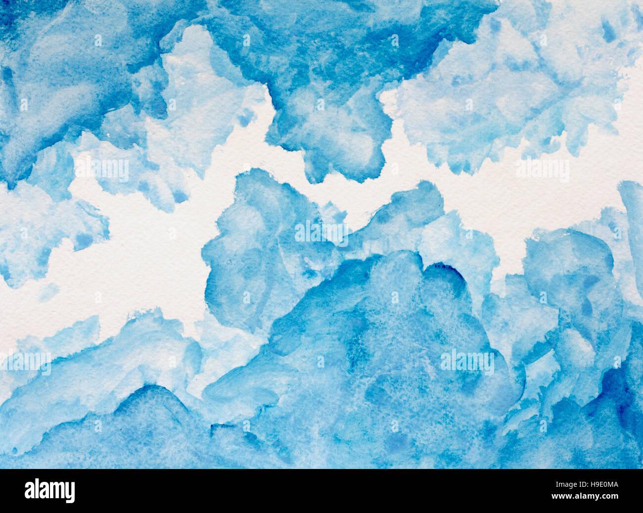 Blu sullo sfondo ad acquarello dipinto a mano su bianco Immagini Stock