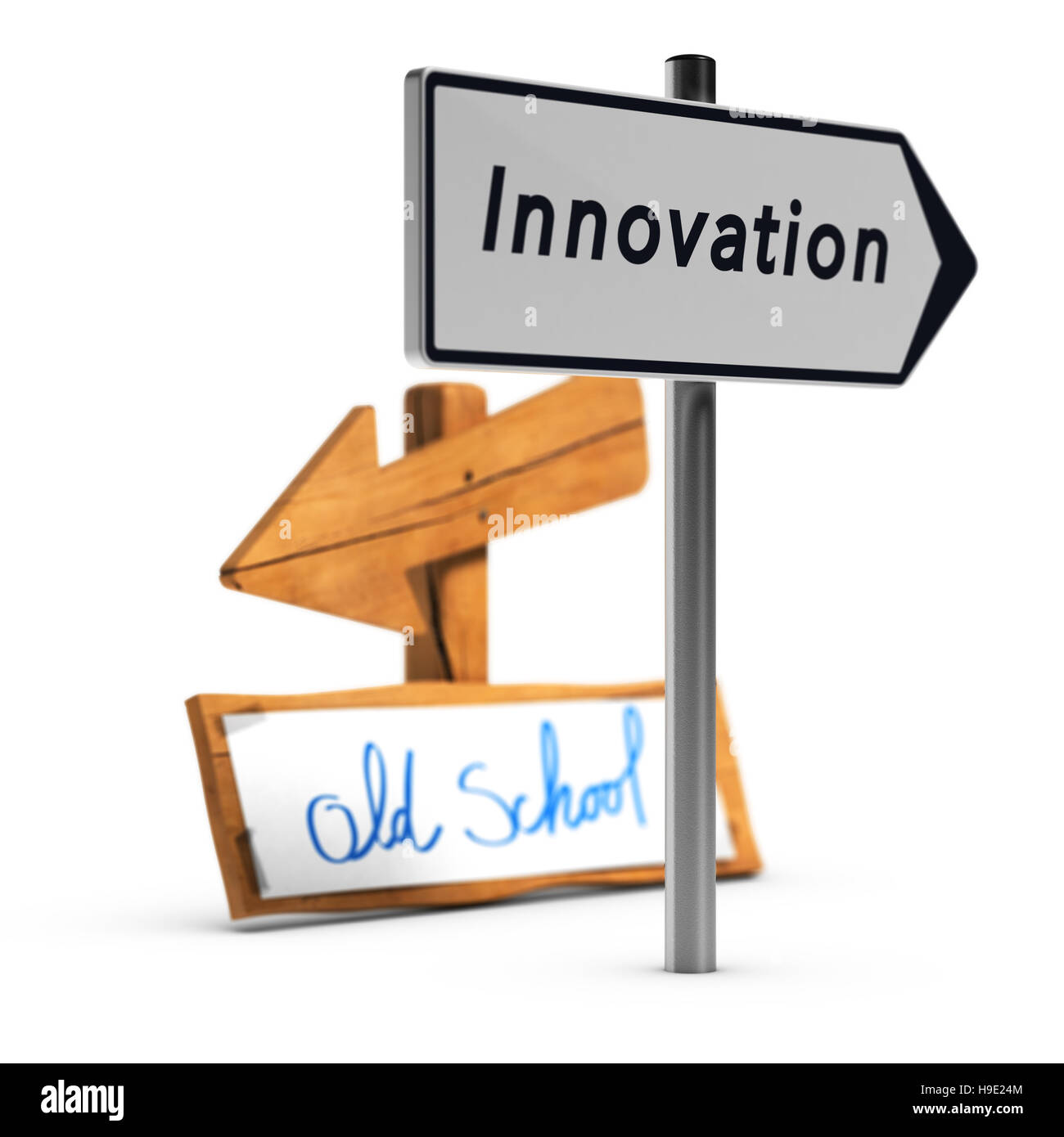 3D'illustrazione di due cartelli stradali con testo di vecchia scuola e innovazione su sfondo bianco, concetto Immagini Stock