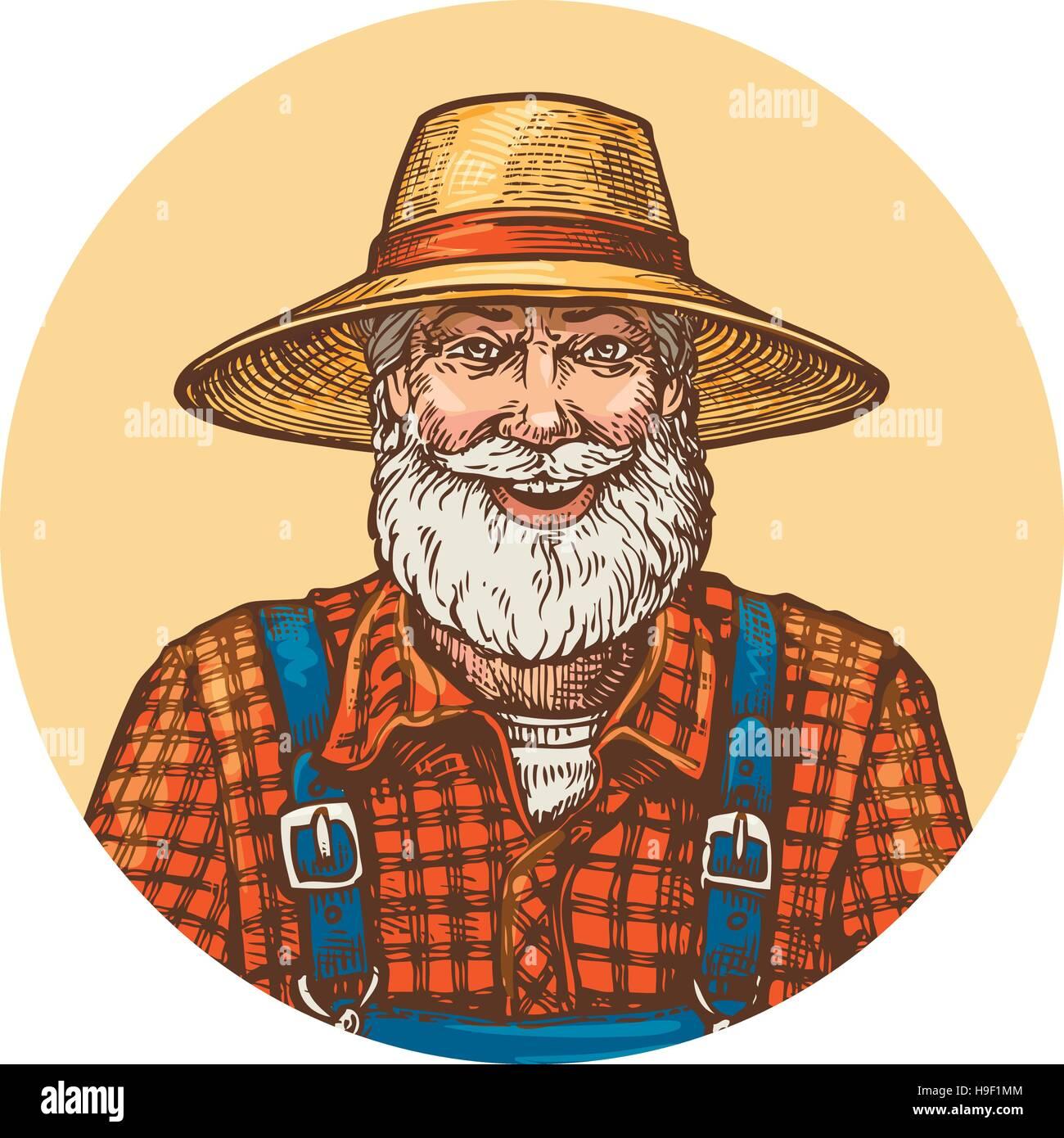 Sorridente contadino nel cappello di paglia. Giardiniere apicoltore o  illustrazione vettoriale 8b62006c234a