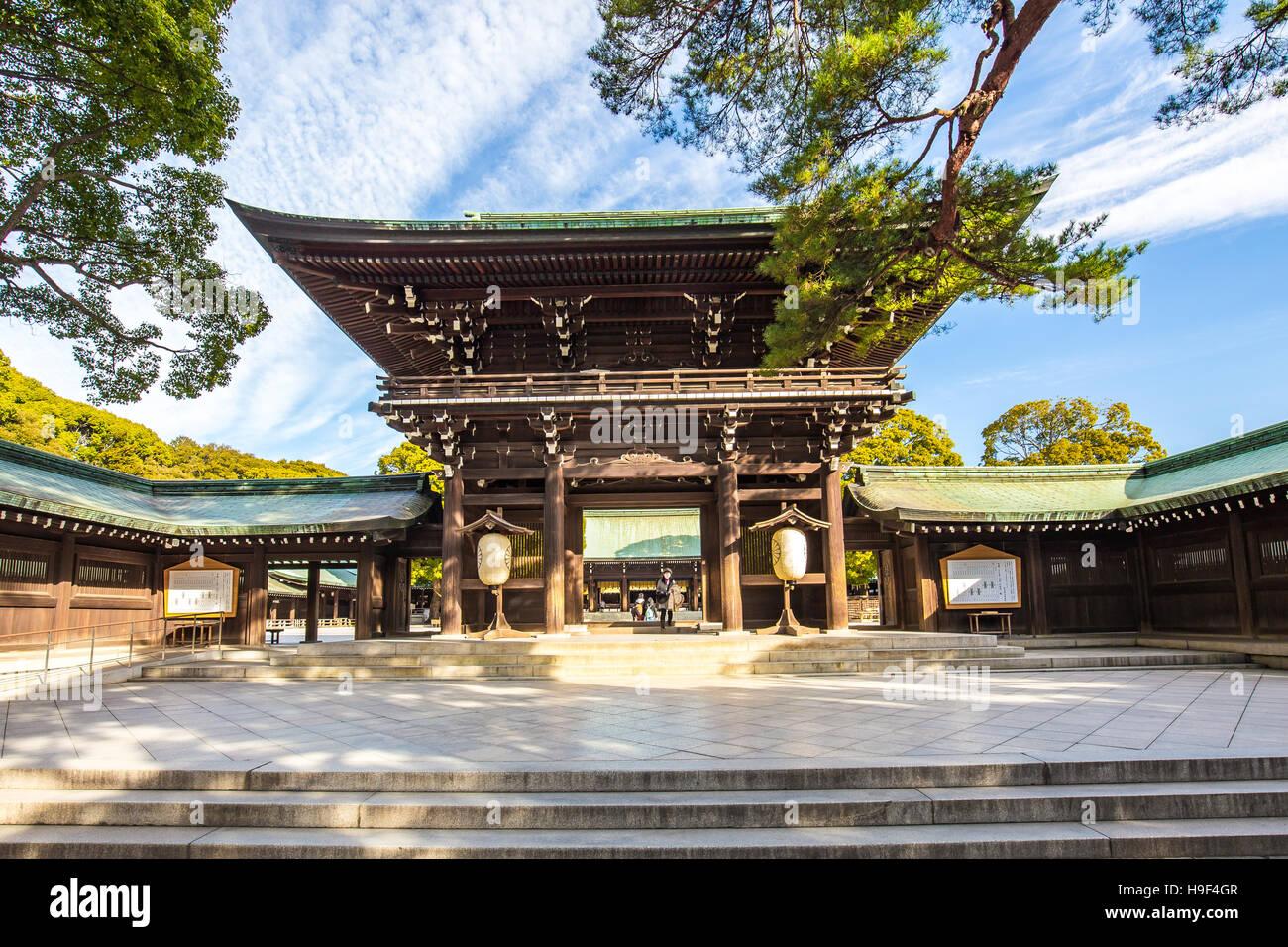 Tokyo, Giappone - 16 Febbraio 2015: Meiji Jingu in Shibuya, Tokyo - Giappone. Immagini Stock