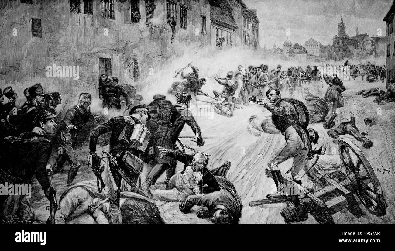 Street fight a Leipzig, Germania, il 19 ottobre 1813 Immagini Stock