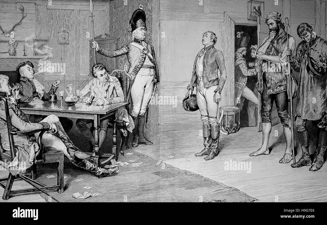 Il reclutamento dei soldati nel periodo prussiano Immagini Stock