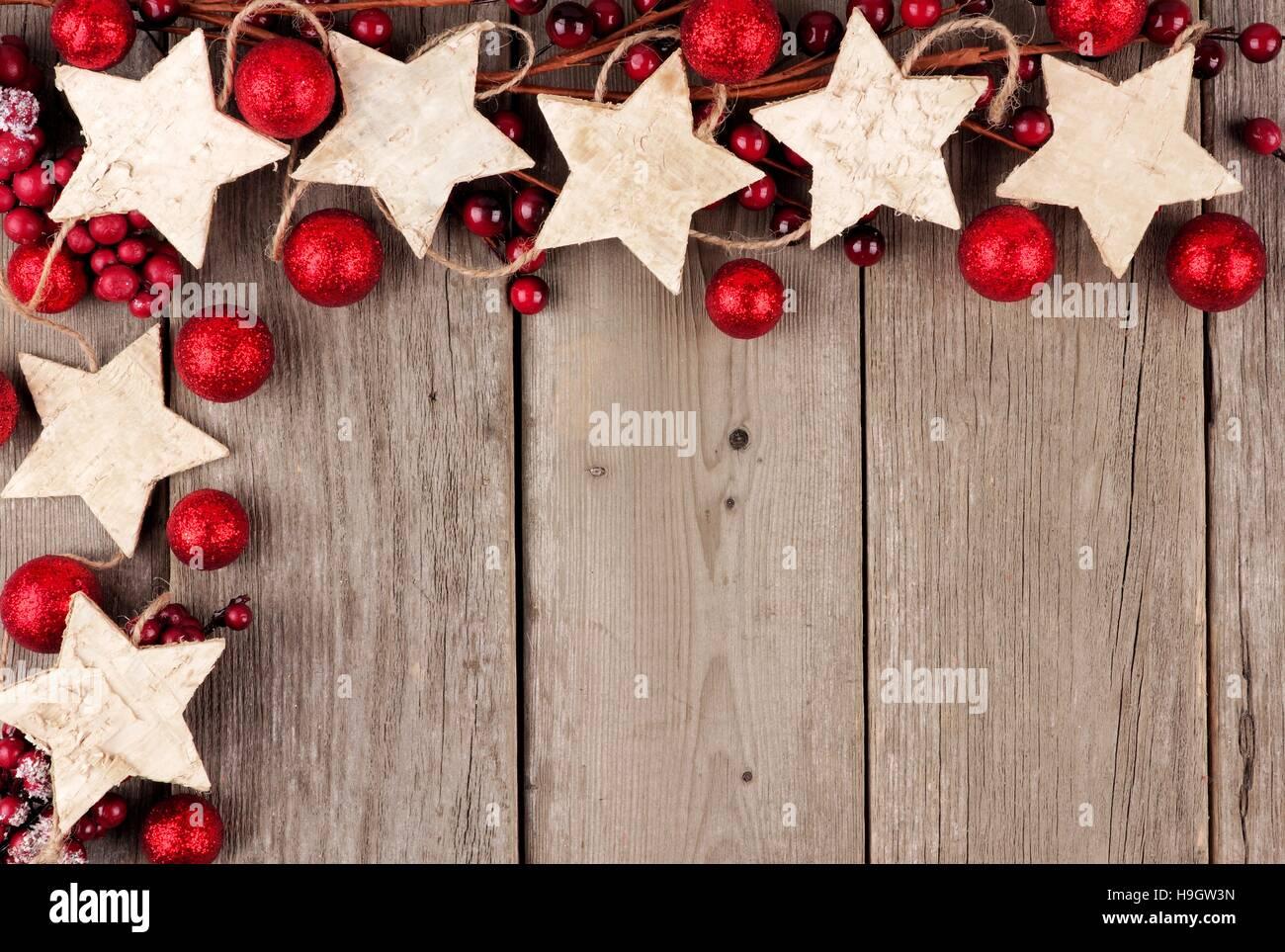 Stella Di Natale Legno.Rustico Angolo Di Natale Confine Con La Stella Di Legno Ornamenti E
