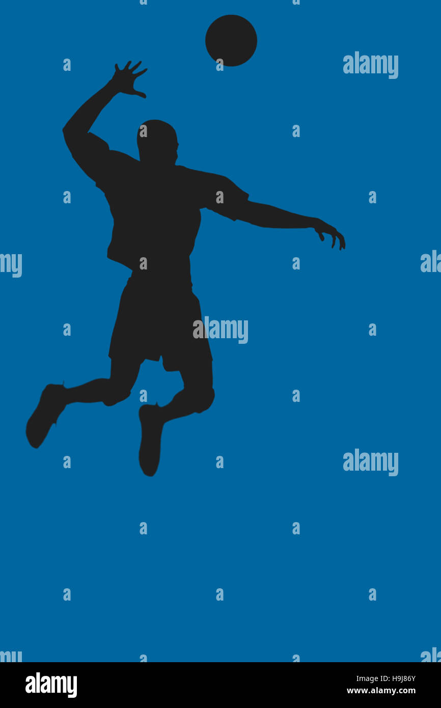 Immagine composita della vista posteriore di uno sportivo in posa mentre giocando a pallavolo Immagini Stock
