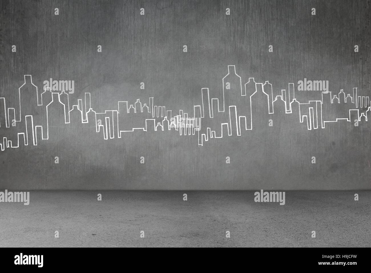 Disegnata a mano pianta della città Immagini Stock