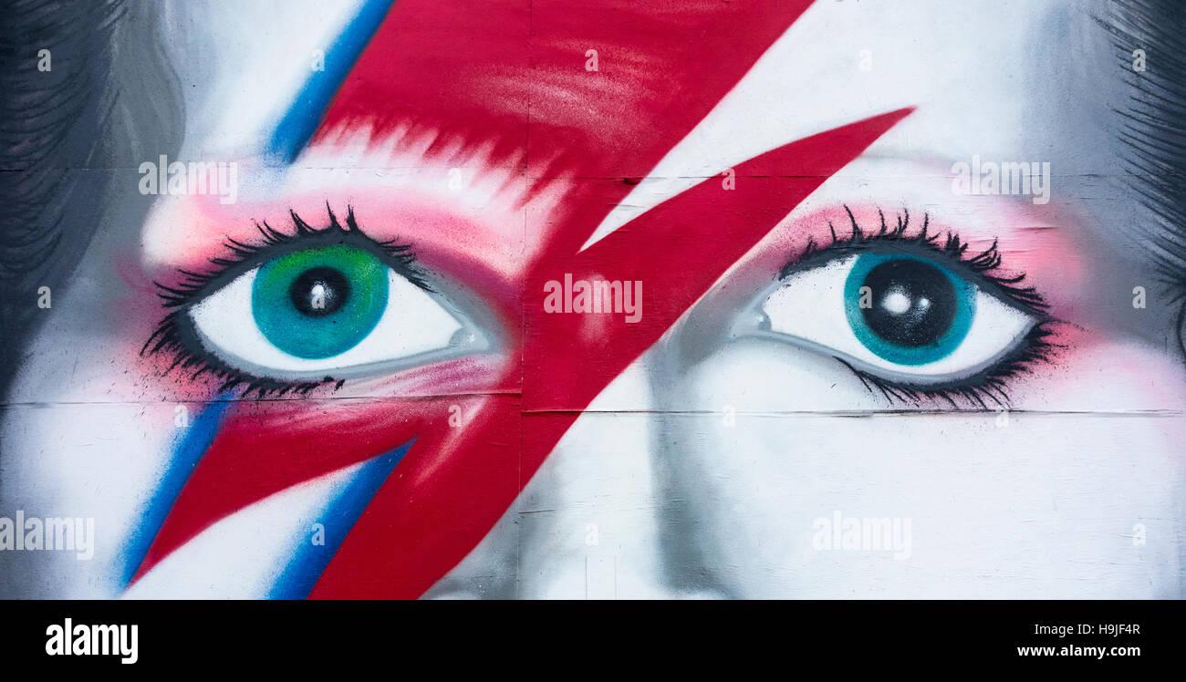 David Bowie Ziggy Stardust graffiti. Immagini Stock