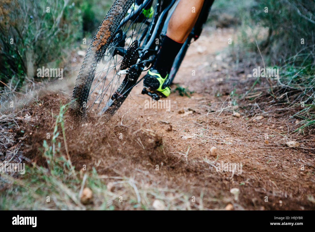 Close-up di mountainbiker sbandata in una curva Immagini Stock