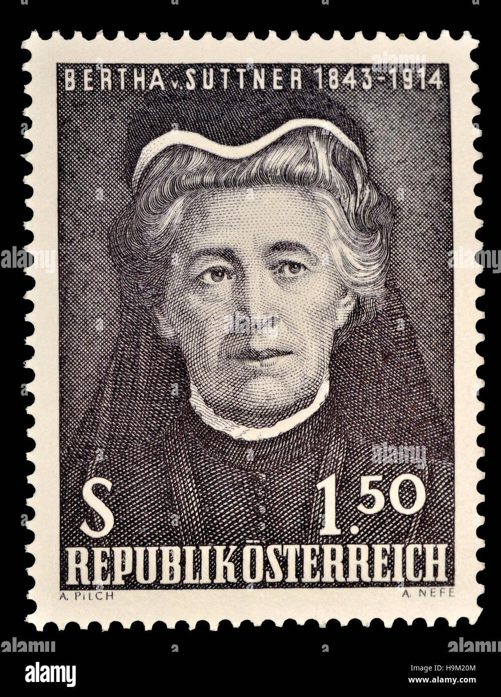 Austrian francobollo (1965) : Bertha Felicitas Sophie Freifrau von Suttner (1843-1914) Repubblica ceca / scrittore Immagini Stock
