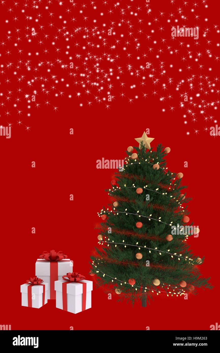 3d Rendering Di Albero Di Natale Con Il Bianco Confezioni Regalo Su
