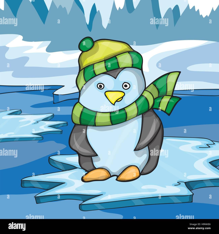 Illustrazione di funny penguin su ghiaccio background - illustrazione vettoriale Immagini Stock