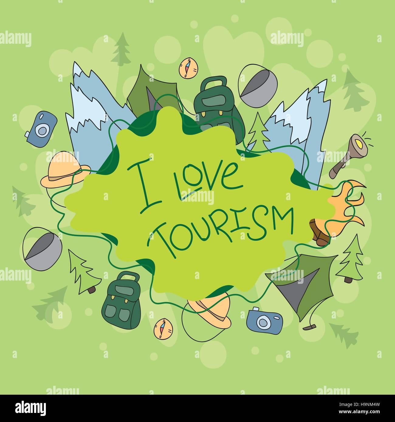Summer Camp a mano elementi scarabocchi e simboli dello sfondo. Vettore disegnati a mano sketchy illustrazione Immagini Stock