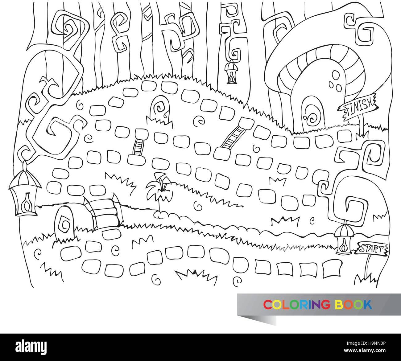 Gioco Da Colorare Per Bambini.Illustrazione Vettoriale Di Gioco Da Tavolo Per Bambini Libro Da Colorare Immagine E Vettoriale Alamy