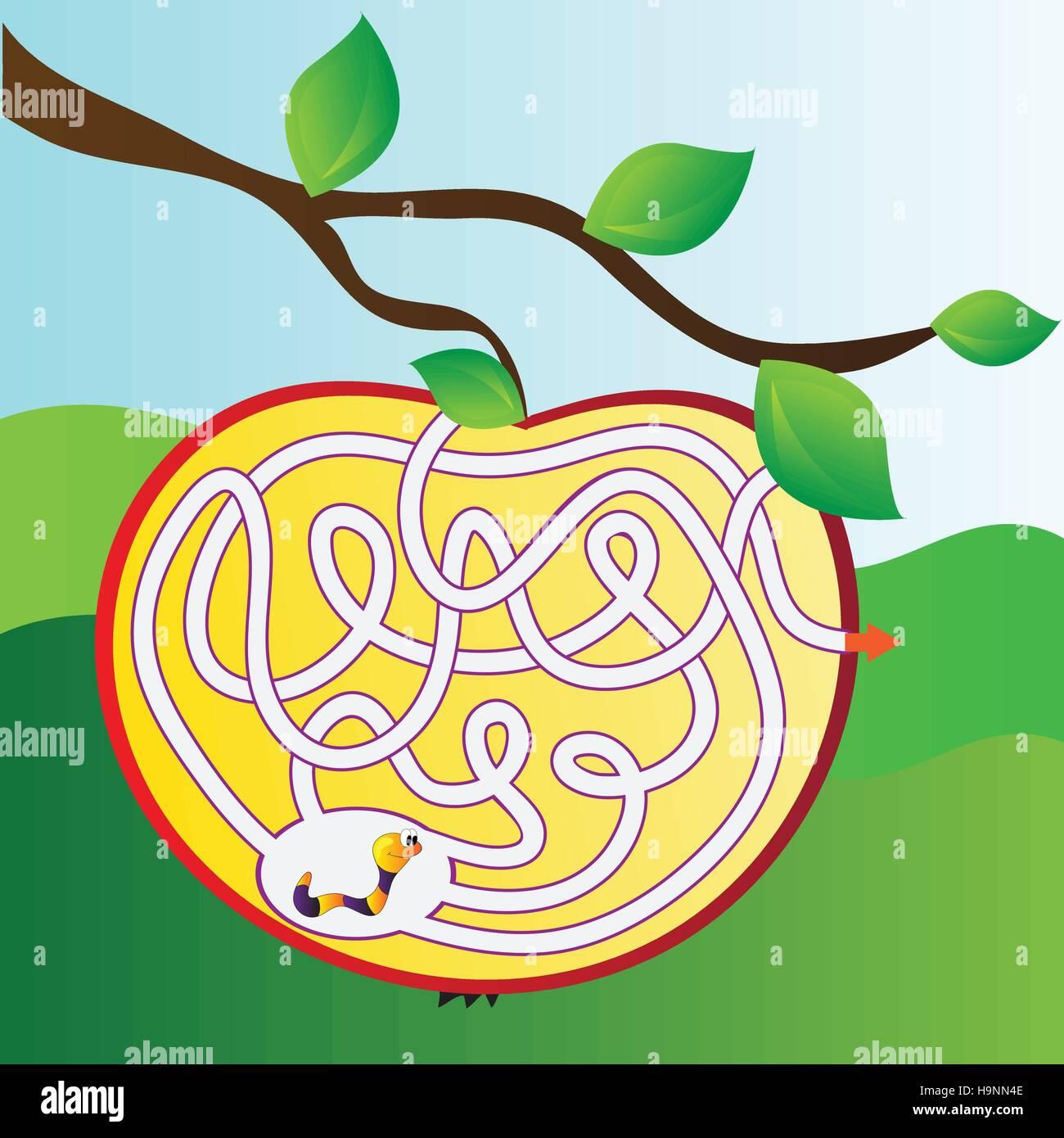 Per bambini - puzzle semplice labirinto - bright illustrazione vettoriale Immagini Stock