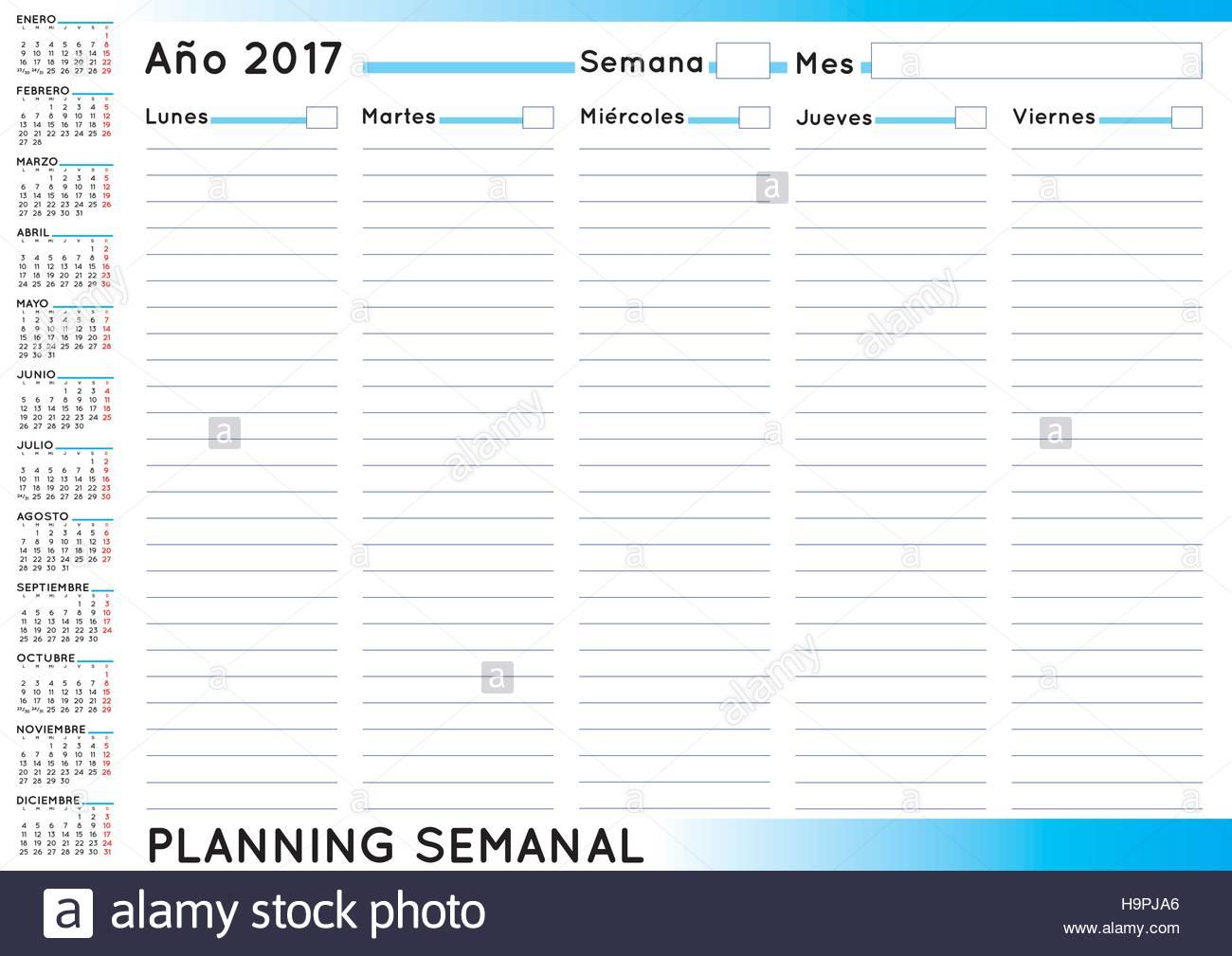 Calendario Anno 2017.2017 Planner Settimanale Calendario Spagnolo Per L Anno