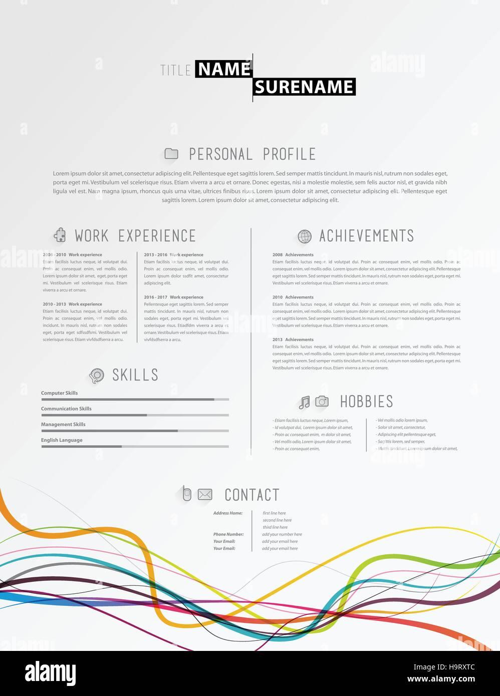Creative Semplice Modello Di Curriculum Vitae Con Linee Colorate A