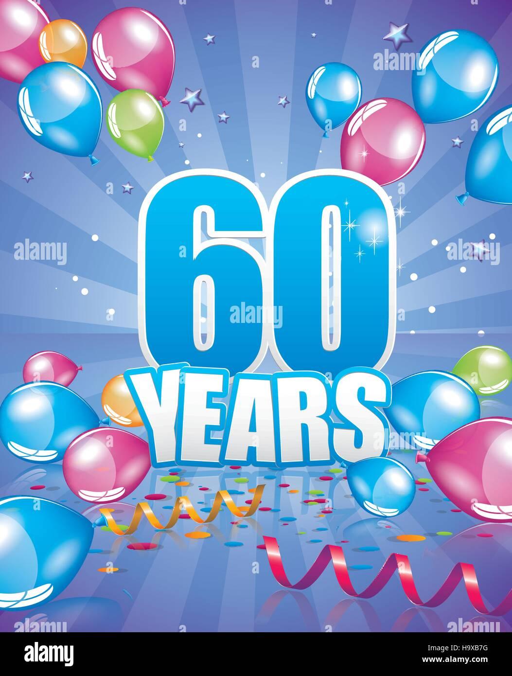 60 Anni Di Biglietto Di Auguri Di Compleanno Completa Degli Elementi