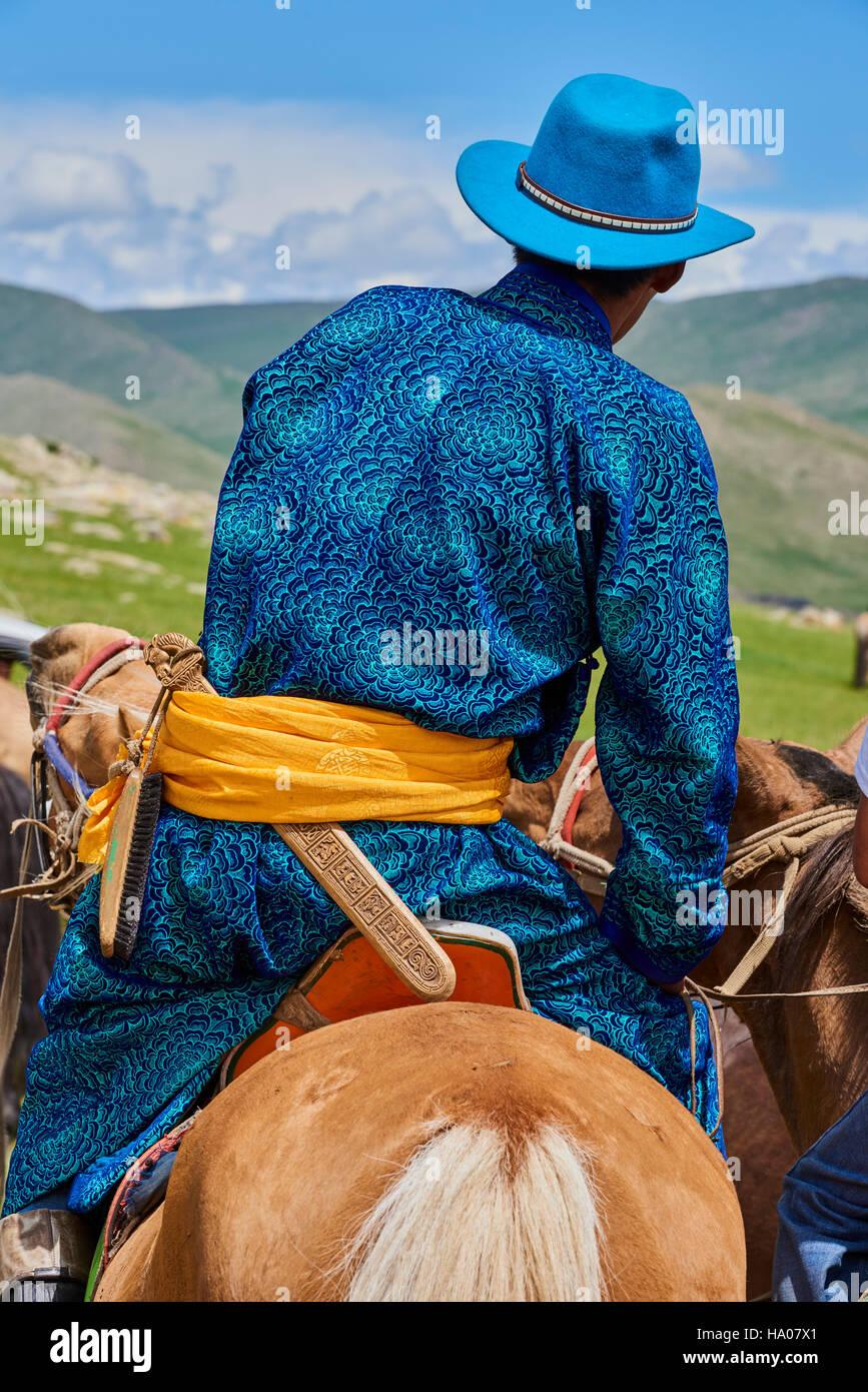 Mongolia, Bayankhongor provincia, mongola horserider Immagini Stock