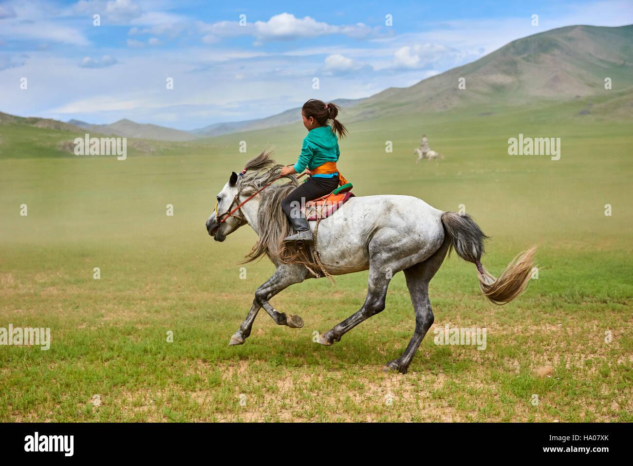 Mongolia, Bayankhongor provincia, Naadam, festival tradizionale, corse di cavalli Immagini Stock