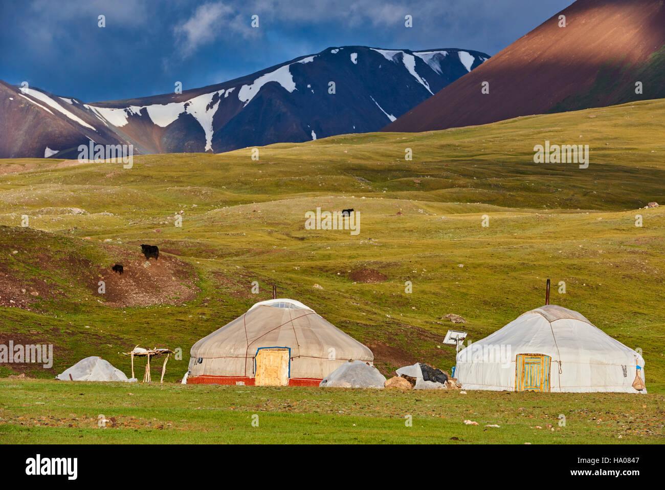 Mongolia, Bayan-Ulgii provincia, Mongolia occidentale, parco nazionale di Tavan Bogd, il 5 vetta più alta delle Foto Stock